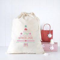 Baby Girl's 1st Christmas Personalised Santa Sack 1