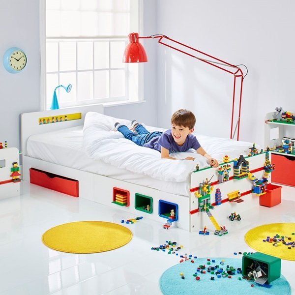 Building Brick Single Bed Kids With Storage And Brick